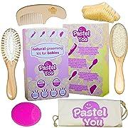 6 Piece Gentle Natural Wood Hair & Nails Brushing Set -Baby Grooming Kit - Nail Cleaning, detangling, Massage & Goat Hair Brush, Bath Brush, Comb, Cradle Cap Solution + Cotton Storage Bag