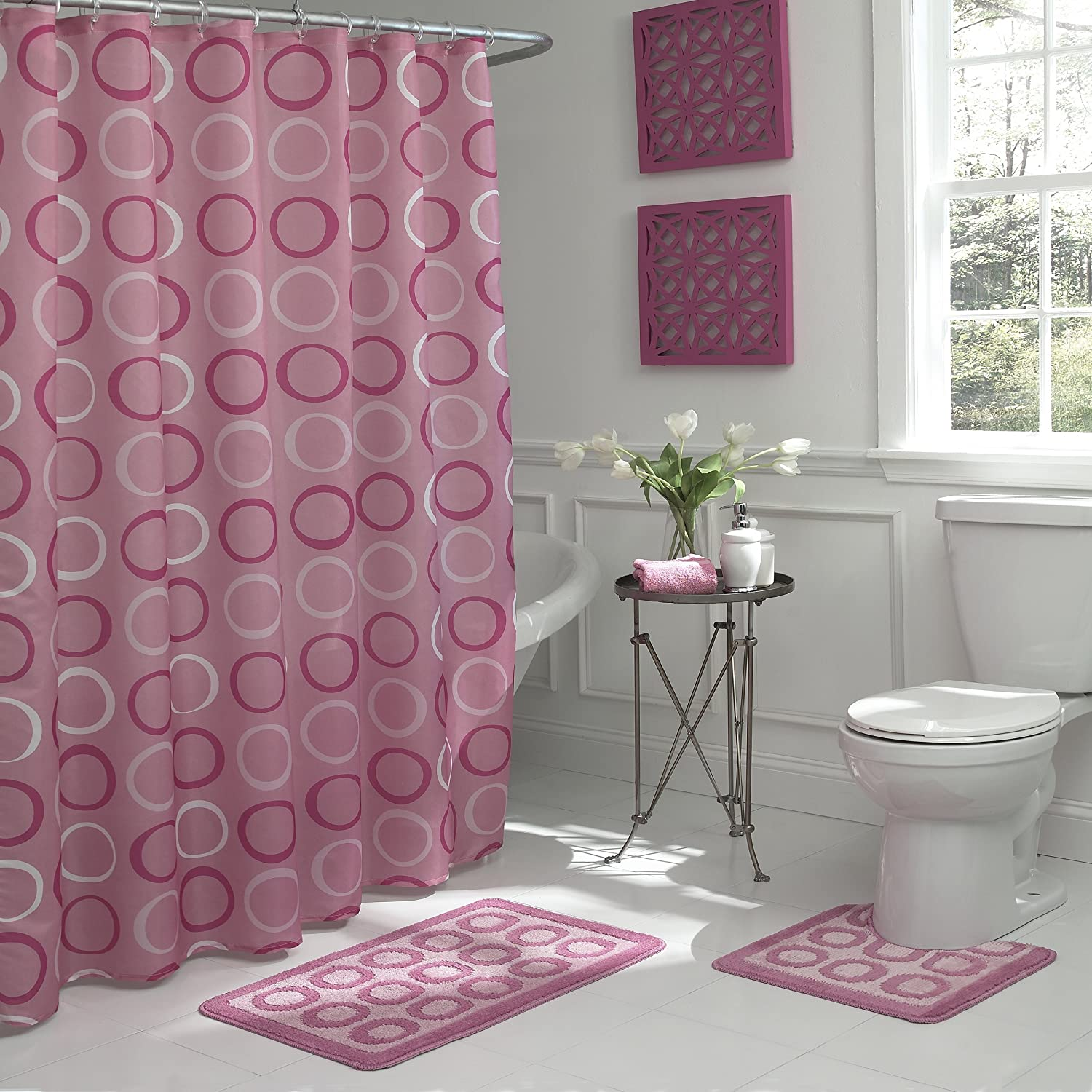 Bath Fusion Terrell Geometric 15-Piece Bath Set, Dusty Rose