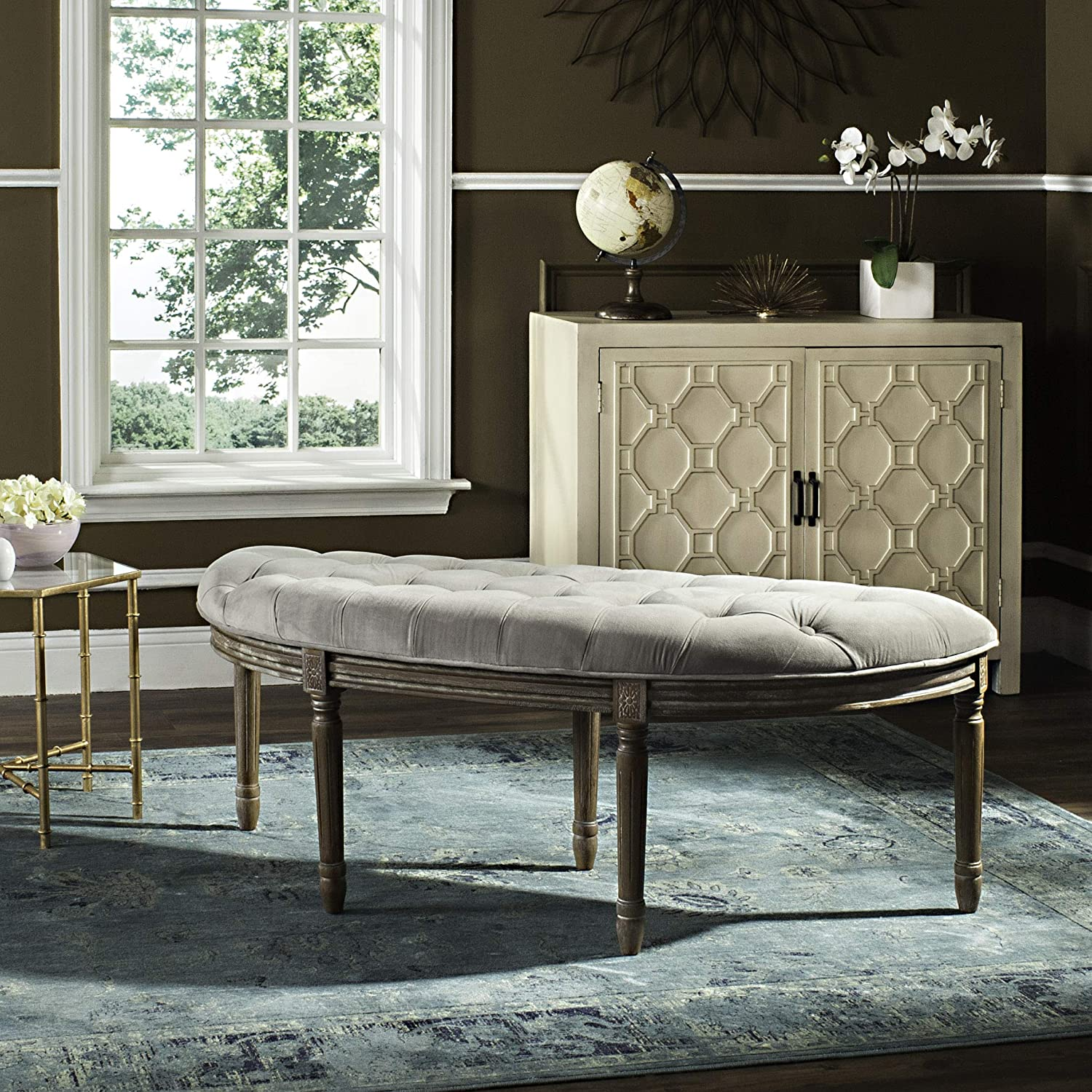 Safavieh Home Collection Abilene Tufted Rustic Semi-Circle Grey and Rustic Oak Bench