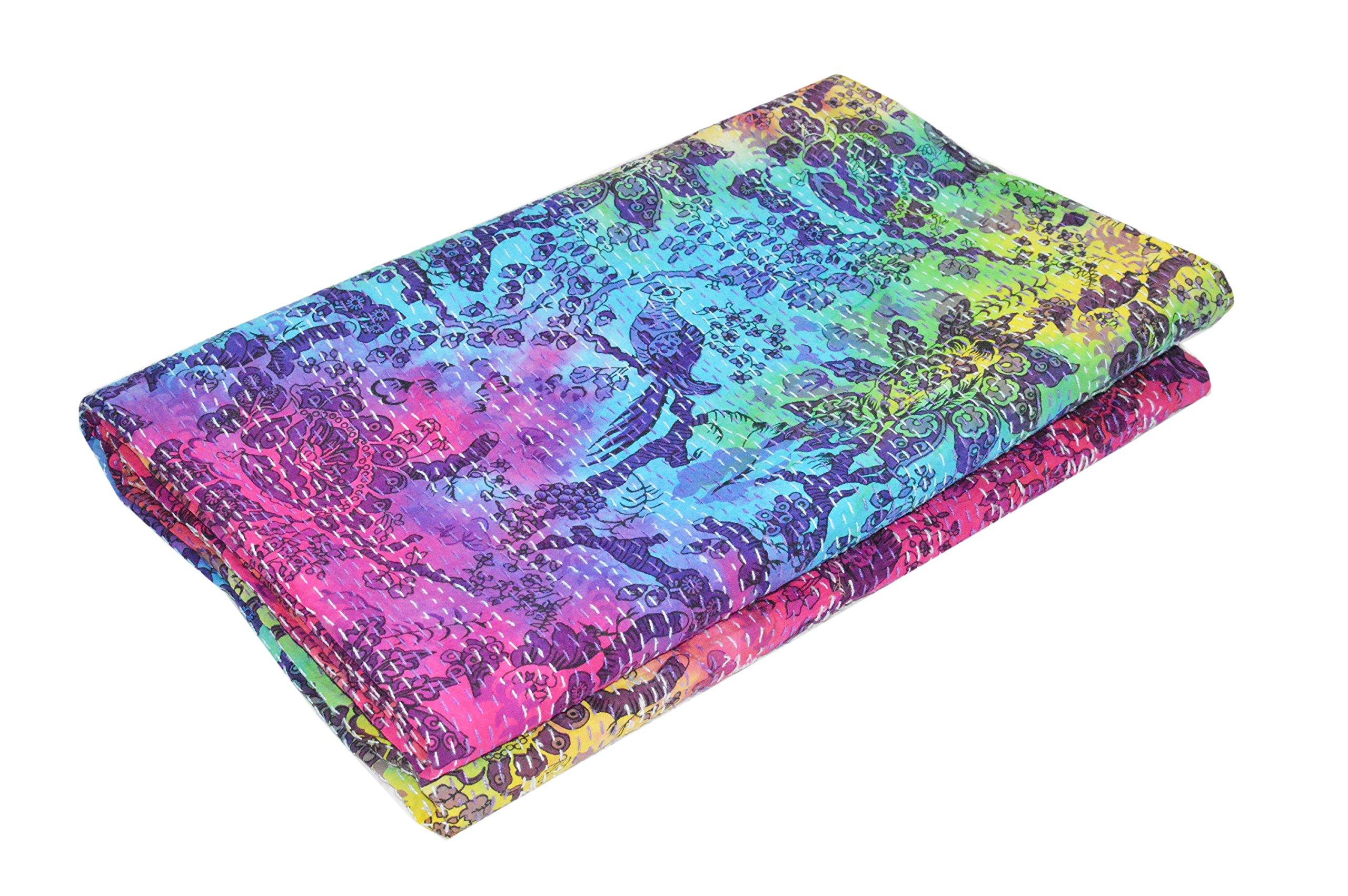 Vedant Designs Indian Bird Pirnt Kantha Quilt Queen Size Tie Dye Reversible Bedspread Handmade Cotton Floral Bedsheet Home Décor 106'' X 88'' Inches