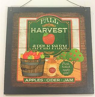 U Pick Tasty Apples Wooden Kitchen Wall Art Sign Fruit Decor *