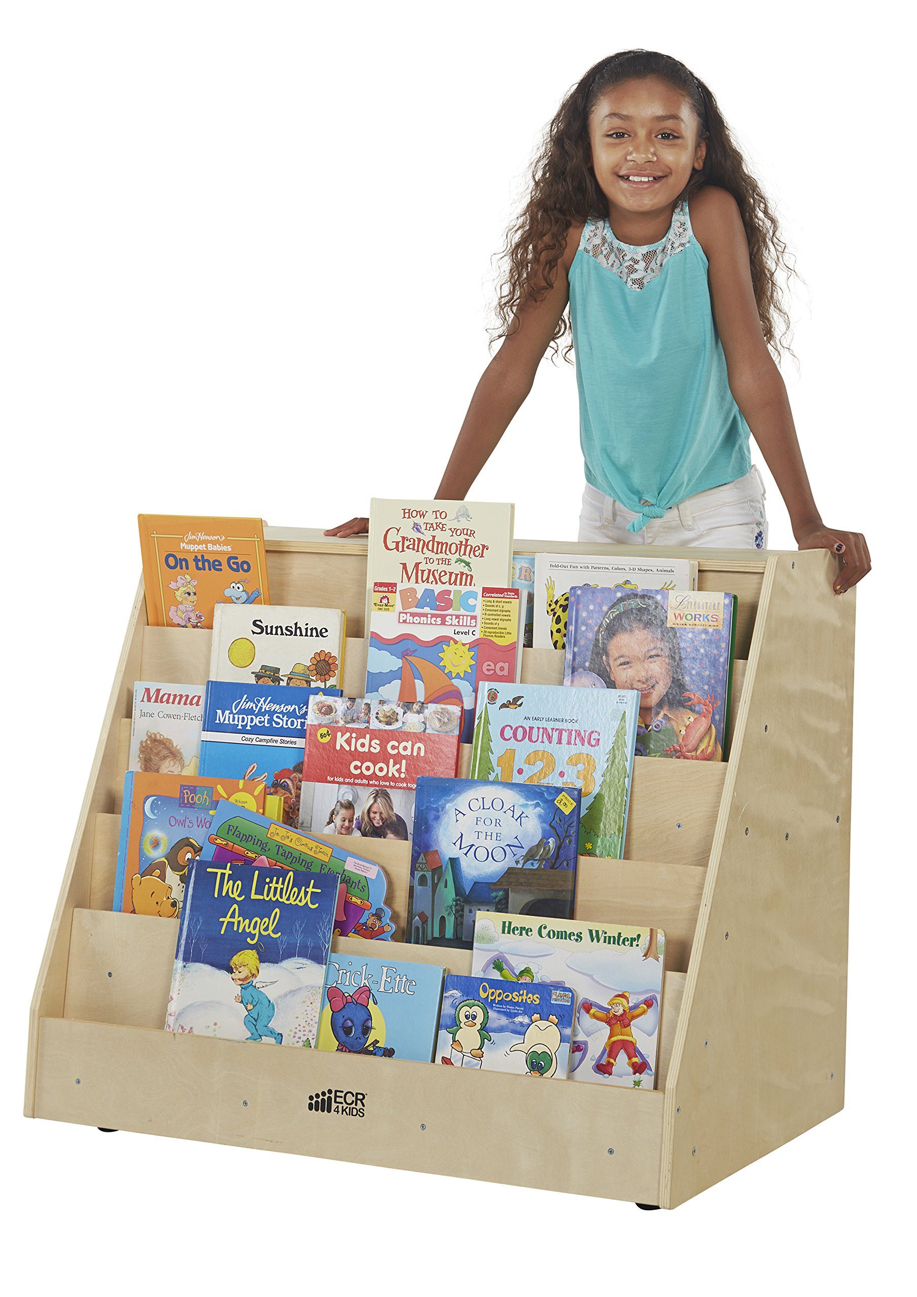 ECR4Kids Birch Hardwood Book Display on Front with Storage, Natural by ECR4Kids