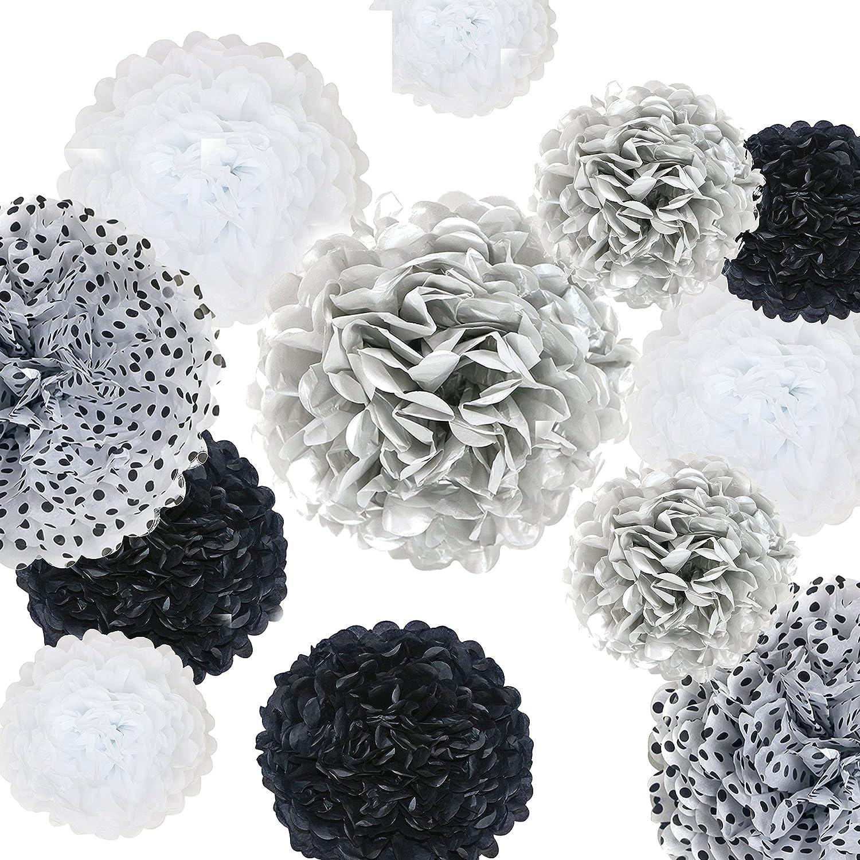 "Vidal Crafts 20 Pcs Party Tissue Paper Pom Poms Kit 14"", 10"", 8"", 6"" Paper Flowers for Wedding, Birthday, Bachelorette, Baby Shower, Nursery (Black, Silver, White, Polka dot)"