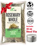 Rosemary Leaves Whole Cut and Sifted Spice CERTIFIED: Kosher 1 POUND LB Bag - LIMITED TIME SPECIAL FREE Steel Tin with Lid 16 oz - 100% NATURAL-Bulk - Great for Tea or Your Favorite Recipes.