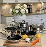 Nonstick Ceramic Cookware Set - Dishwasher Safe Induction Kitchen Cooking Pots and Pans Set