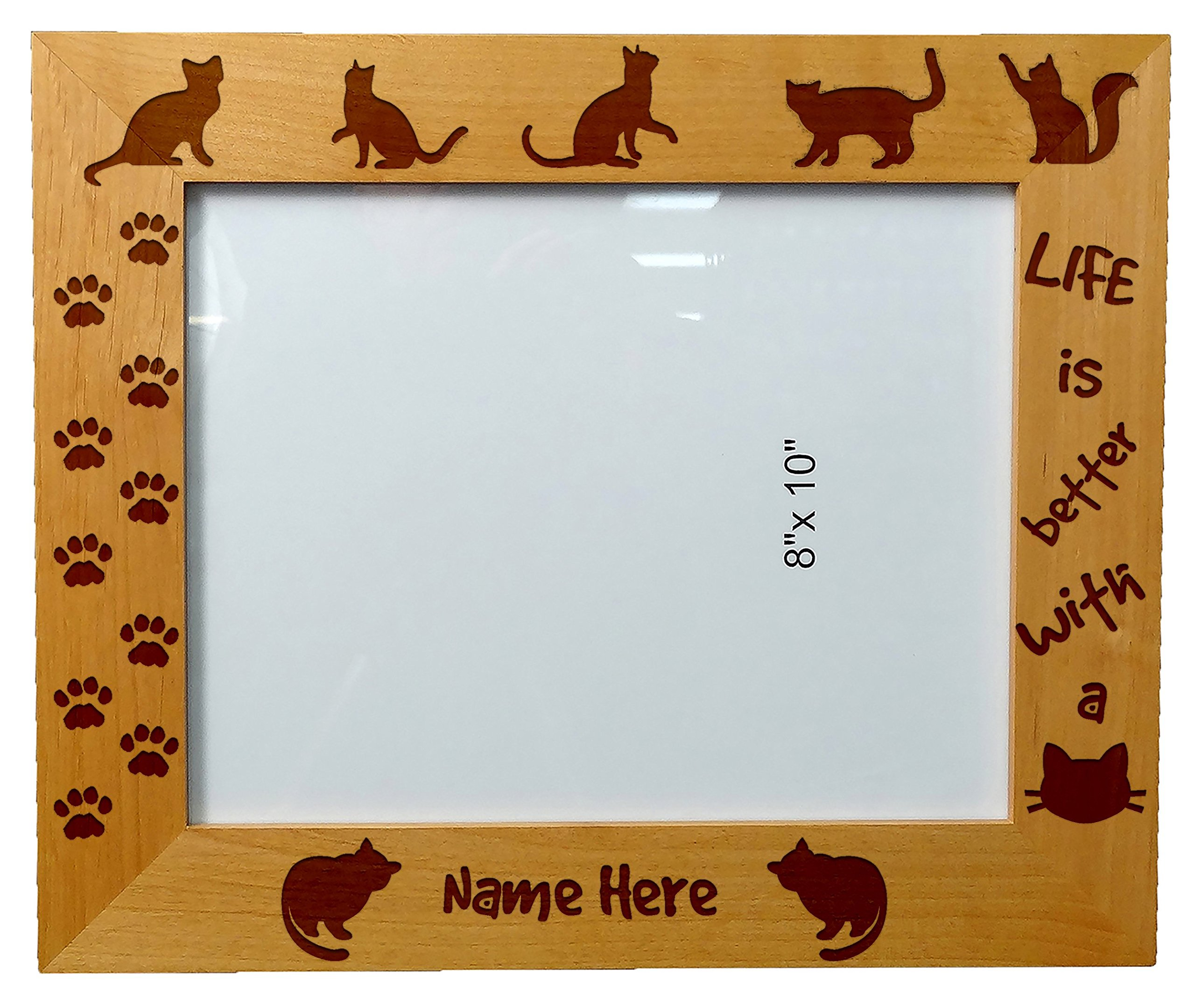Personalized Laser Engraved Wooden Picture Frame 8X10 Cat lovers Cat quotes