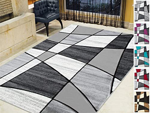 HR-Color Block Geometric Linear Modern Contemporary Hand Carved Area Rug 5 x7 Silver Gray Black