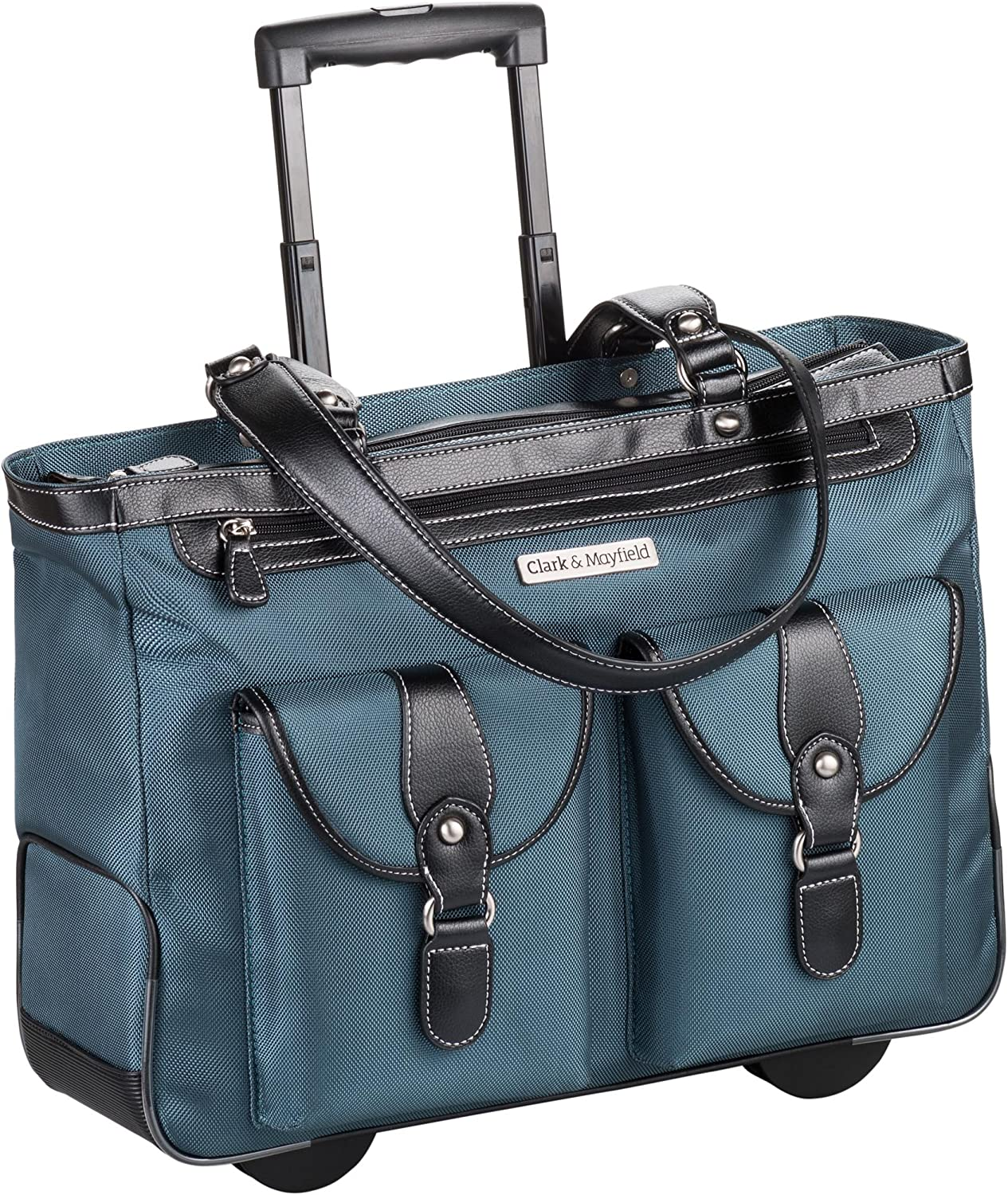 "Clark & Mayfield Marquam Rolling Laptop Tote 18.4"" (Deep Teal)"
