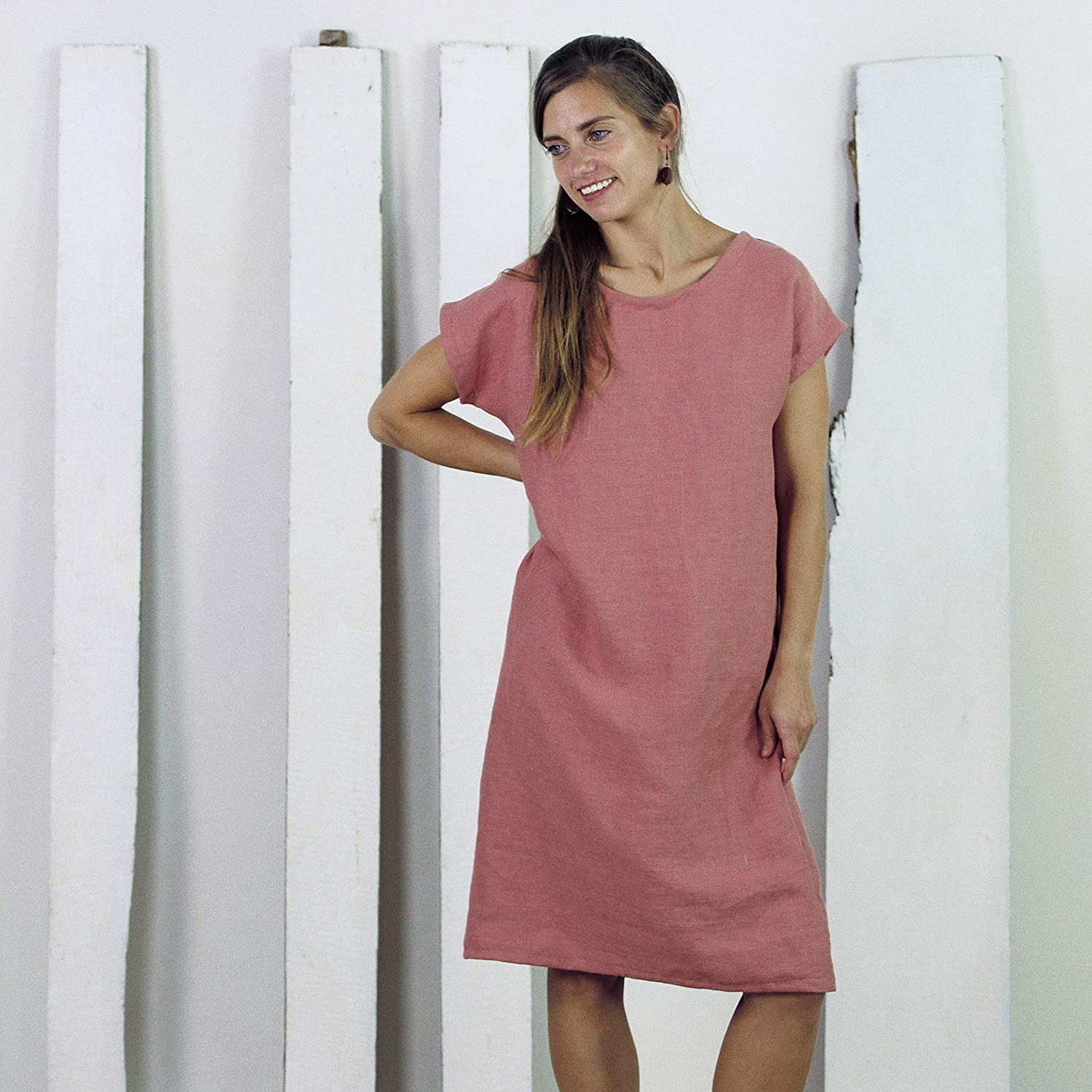 Casual linen tunic with pockets Maternity linen dress Loose linen dress Linen dress with belt Oversized linen tunic Linen dress oversized