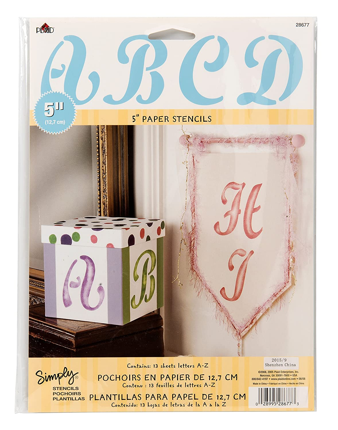 27994 Chunky Upper Case Plaid Letter Stencil Value Pack 8-Inch