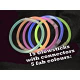 Anker Party Wares Glow Sticks in a Tube, Plastic, Multi-Colour, Pack of 15