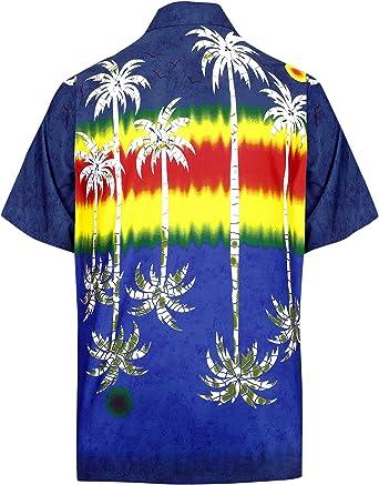 LA LEELA Casual Hawaiana Camisa para Hombre Señores Manga Corta Bolsillo Delantero Surf Palmeras Caballeros Playa Aloha S-(in cms):96-101 Azul Marino_W395: Amazon.es: Ropa y accesorios