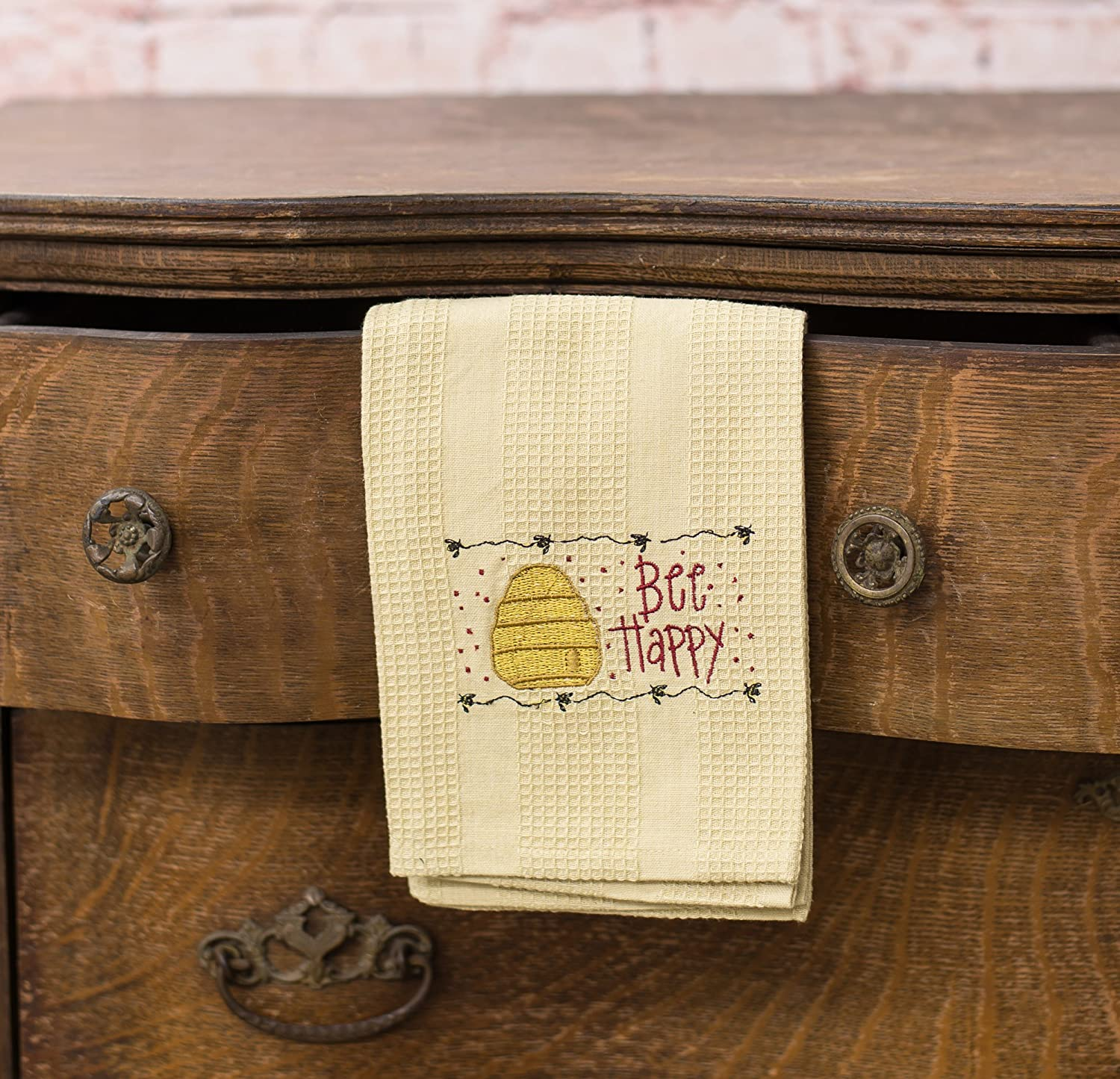 Bee Happy Hive 19 x 28 All Cotton Embroidered Waffle Kitchen Towel