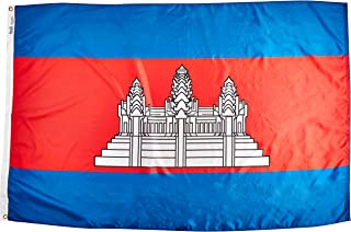 product image for Annin Flagmakers Model 191198 Cambodia Flag Nylon SolarGuard NYL-Glo, 4x6 ft, 100% Made in USA to Official United Nations Design Specifications