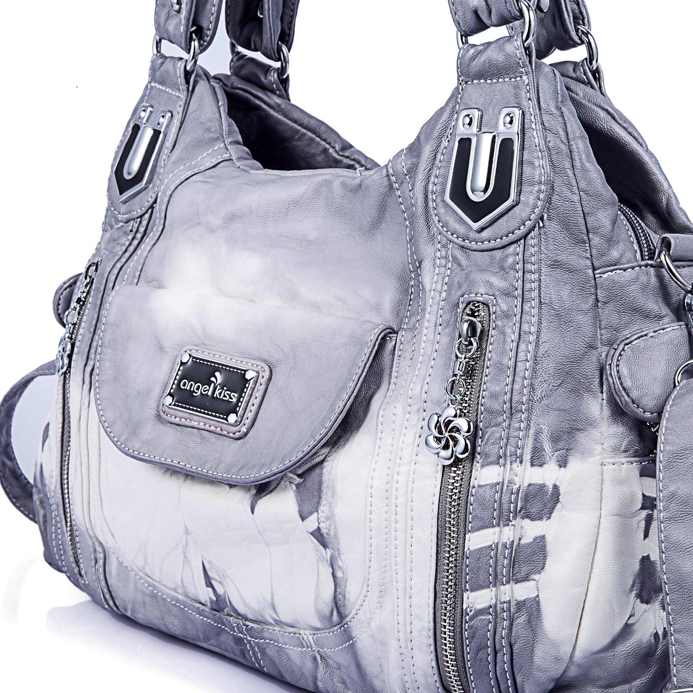 Handbag Hobo Women Handbag Roomy Multiple Pockets Street ladies' Shoulder Bag Fashion PU Tote Satchel Bag for Women (AK812-2Z Grey) by Angel Kiss (Image #6)