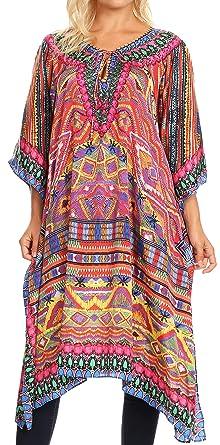 a362145d49342 Sakkas 1822 - Jenni Women's Mid Length Boho Caftan Kaftan Dress Cover up  Flowy Rhinestone -