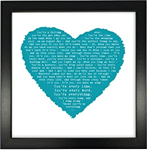 Michael Buble, Everything Personalised Print Heart - Ideal Wedding Anniversary Personalized Romantic Gift - Fully Framed Box Frame