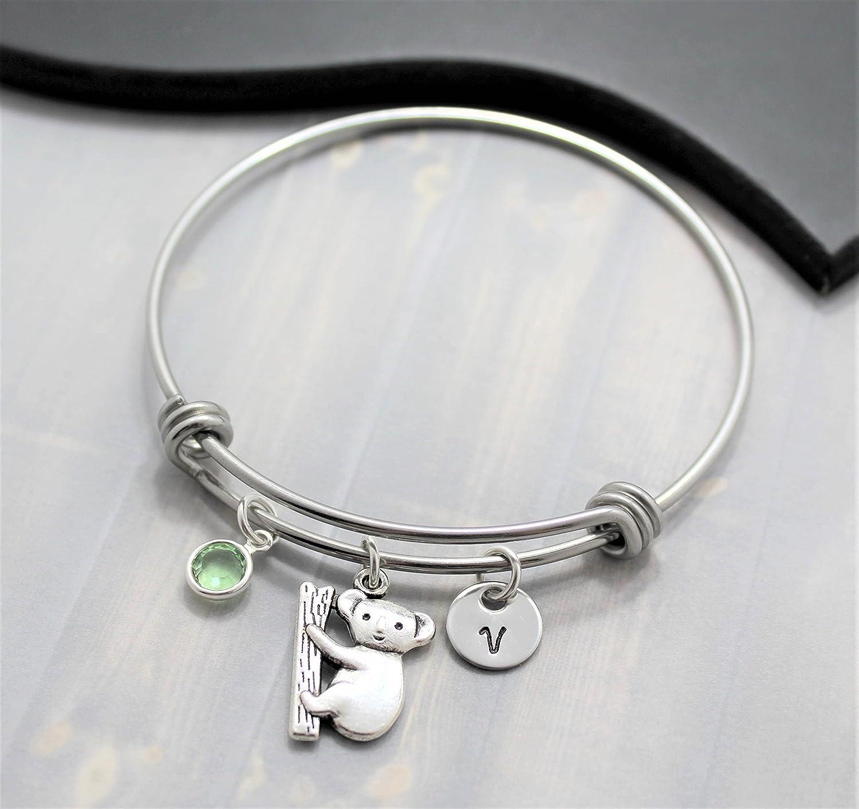 Koala Bear Bracelet - Koala Jewelry - Personalized Initial & Birthstone - Fast Shipping