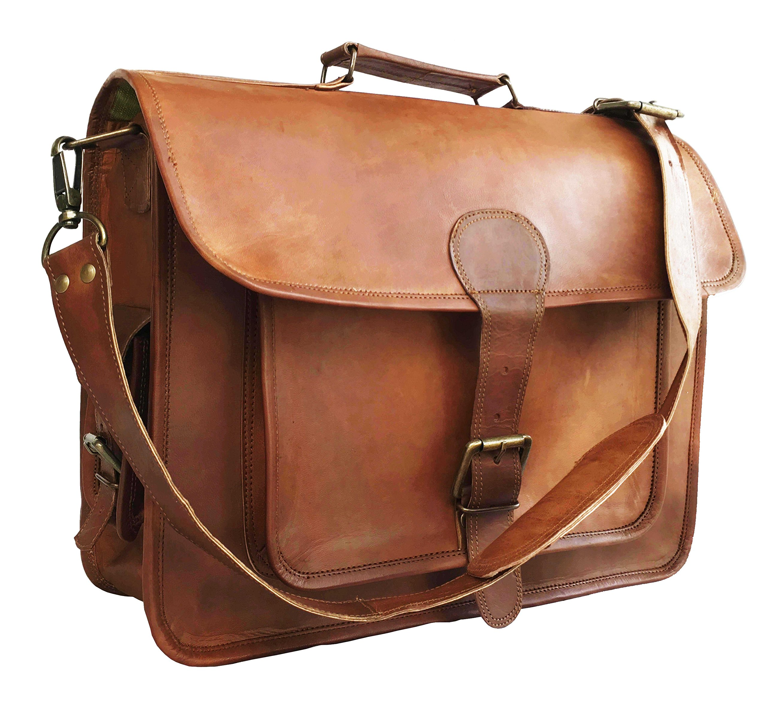 15 Inch Retro Ship Hunter Leather Laptop Messenger Bag Office Briefcase College Bag