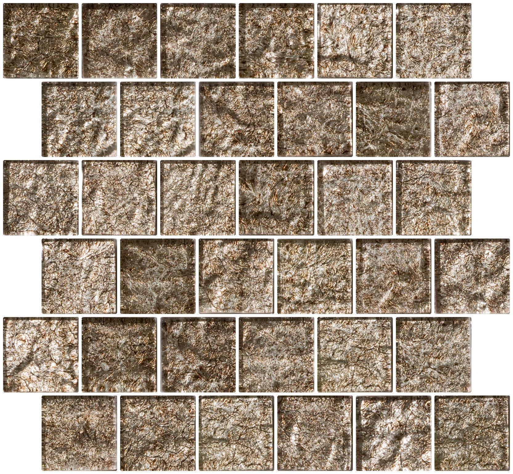Susan Jablon Mosaics - 2x2 Inch Espresso Brown Satin Metallic Glass Tile Reset In Offset Layout