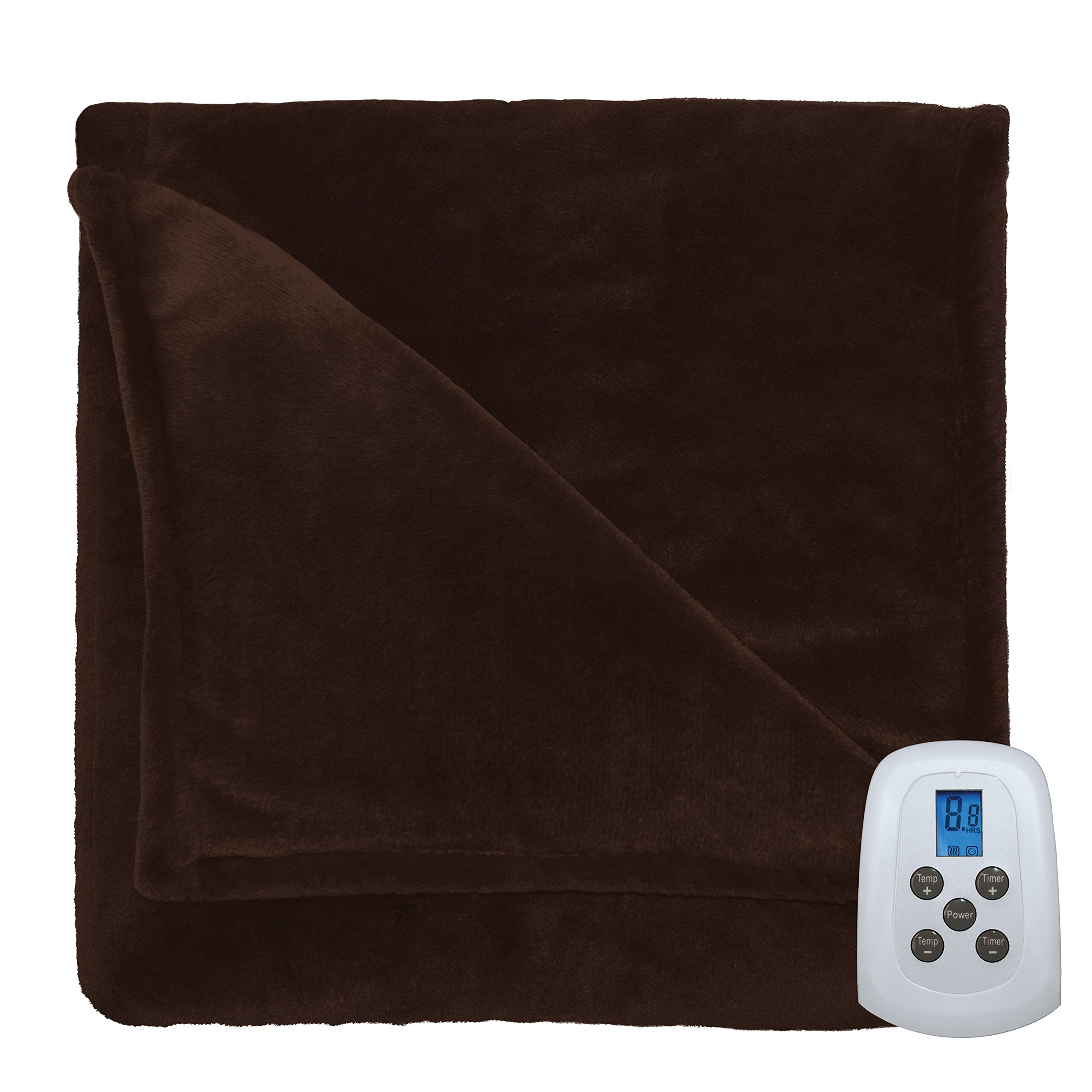 Serta 857556 Silky Plush Blanket with Programmable Digital Controller, King, Chocolate