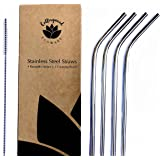 Collingwood Ecoware Stainless Steel Straws | 4 Metal Straws and 1 Cleaning Brush | Reusable Straws Fits 20 Ounce and 30 Ounce Tumblers | Eco Friendly and Zero Waste for Smoothies and Cocktails