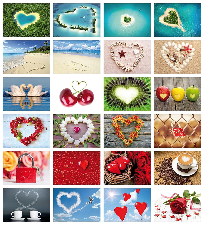 Edizione Colibri, set di cartoline Love-Cards (Set 2), 24 cartoline con cuori, con diversi motivi (10794-817) Edition Colibri