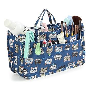 BTSKY Printing Handbag Organizers Inside Purse Insert-High Capacity 13 Pockets Bag Tote Organizer with Handle