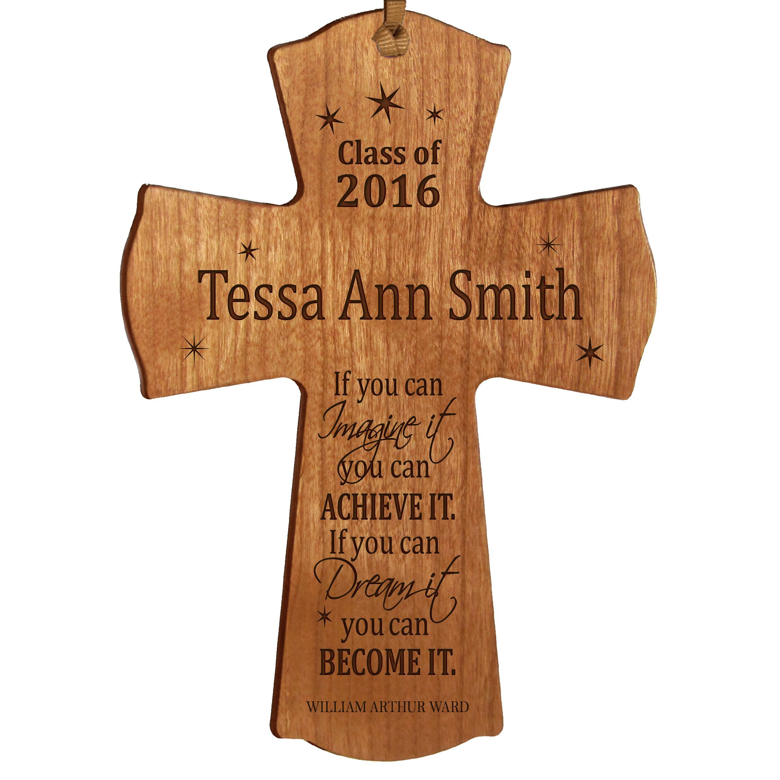 LifeSong Milestones Personalized Graduation gifts for graduate ideas for men and women custom wall cross For I know the Plans I have for You Jeremiah 29:11 (4.5'' x 6'', Cherry)