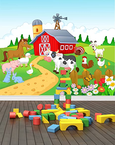 Wall Stickers Farm Animals Fence Barn Kids Smashed Decal 3D Art Vinyl Room C641