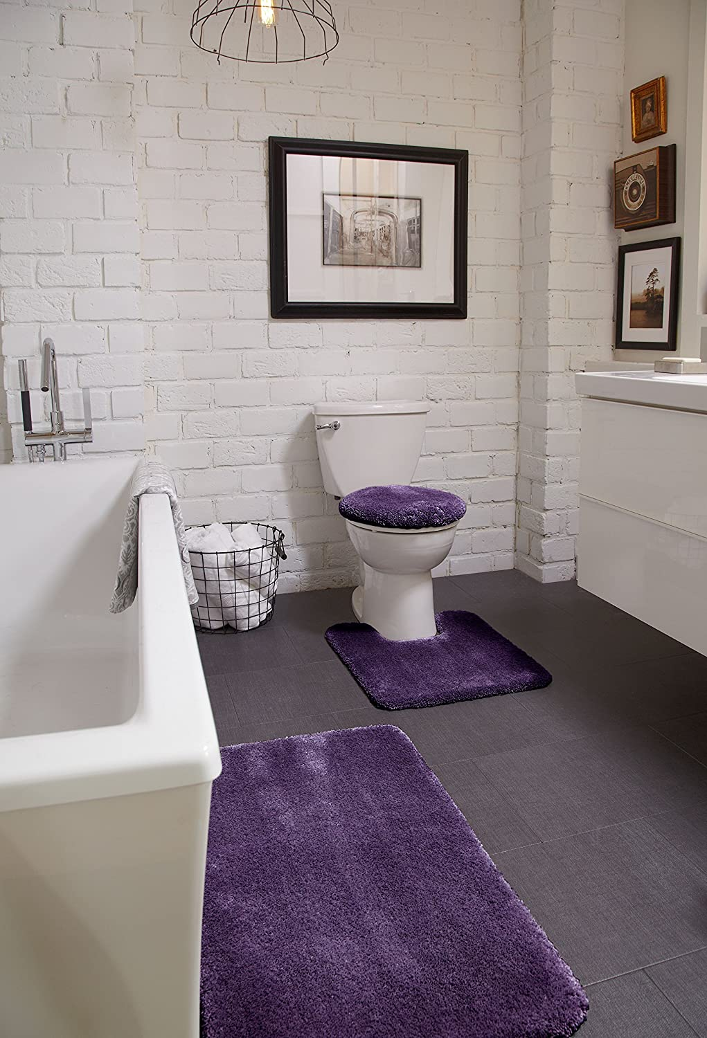 STAINMASTER TruSoft Luxurious Contour Bath Rug, 20-By-24 Sugar Plum