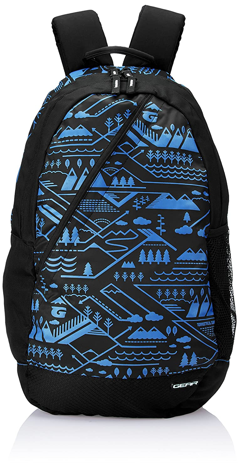 Gear 22 ltrs Black and Royal Blue Casual Backpack (BKPCMPUS10110)