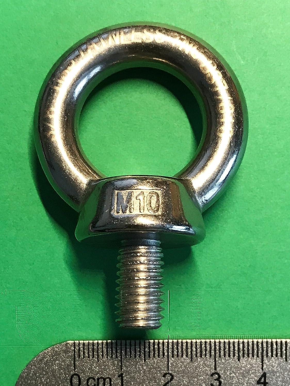 Stainless Steel 316 Lifting Eye Bolt 10mm M10 Marine Grade Heavy Duty