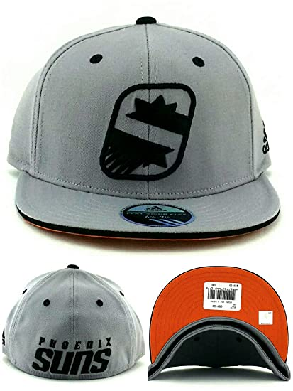 5244a2de7d8ebd Phoenix Suns Adidas New NBA PHX S Logo Gray Black Flex Fit Era Fitted Hat  Cap