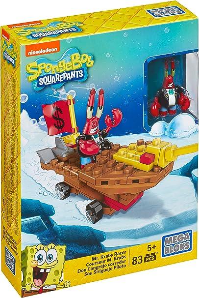 Mega Bloks SpongeBob SquarePants Mr Krabs Racer 83 Pieces New Kids Toy Gift