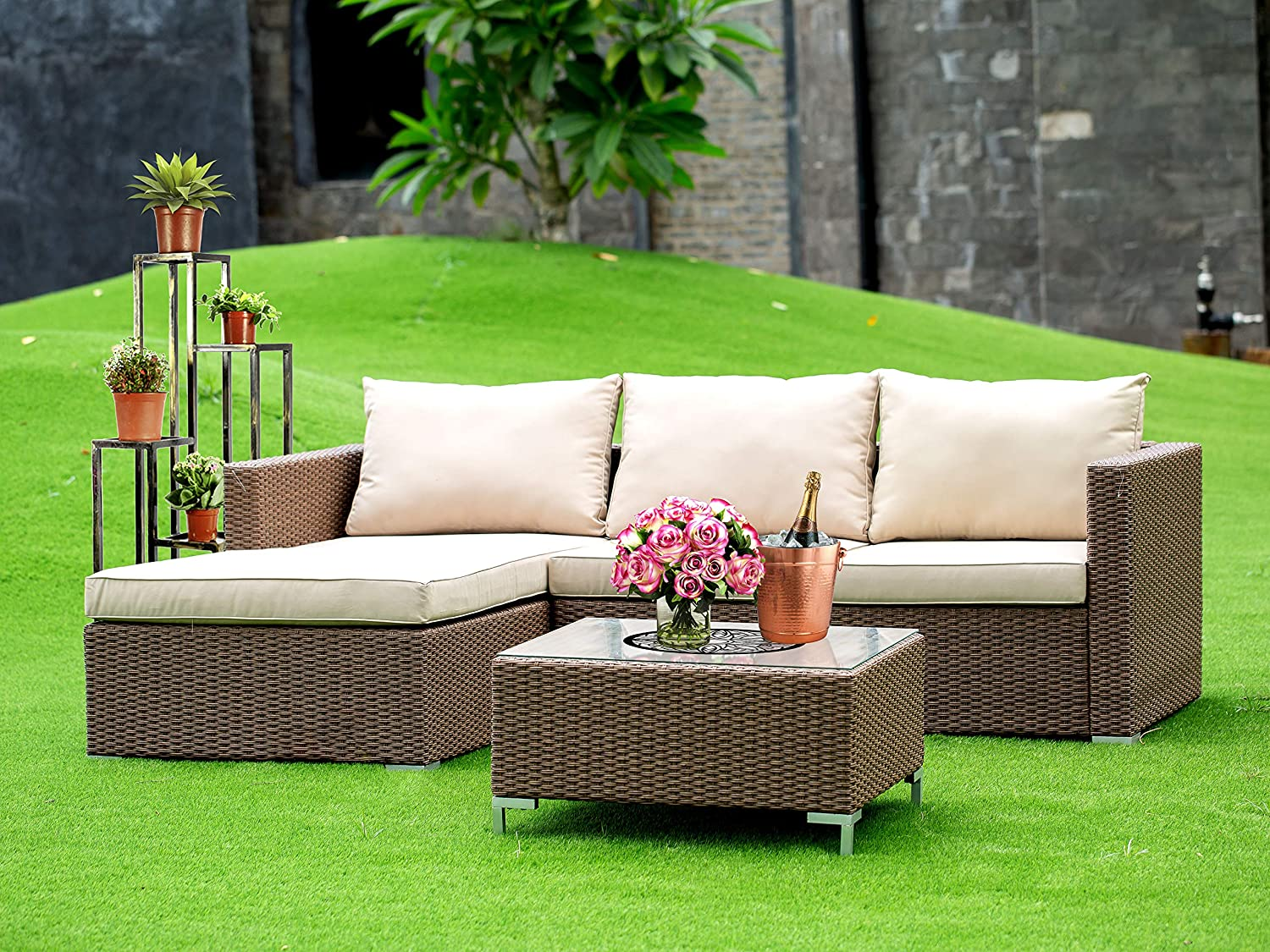 East West Furniture 3Pc Brown Wicker Outdoor Sectional Sofa Set Includes a Patio Table and Linen Fabric Cushion