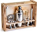 Mixology Bartender Kit: 11-Piece Bar Tool Set with Rustic Wood Stand