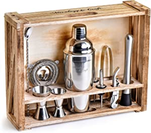 Mixology Bartender Kit: 11-Piece Bar Tool Set with Rustic Wood Stand - Perfect Home Bartending Kit and Cocktail Shaker Set For an Awesome Drink Mixing Experience (Silver)