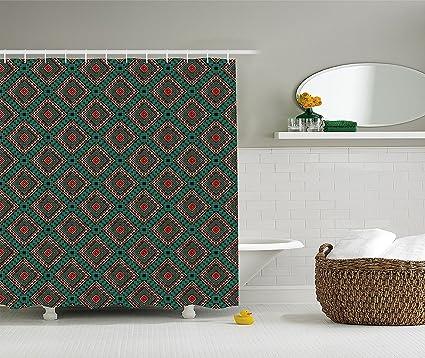 Native American Shower Curtain Ancient Border Ethnic Tribal Symbol Antique Design Tile Pattern Print