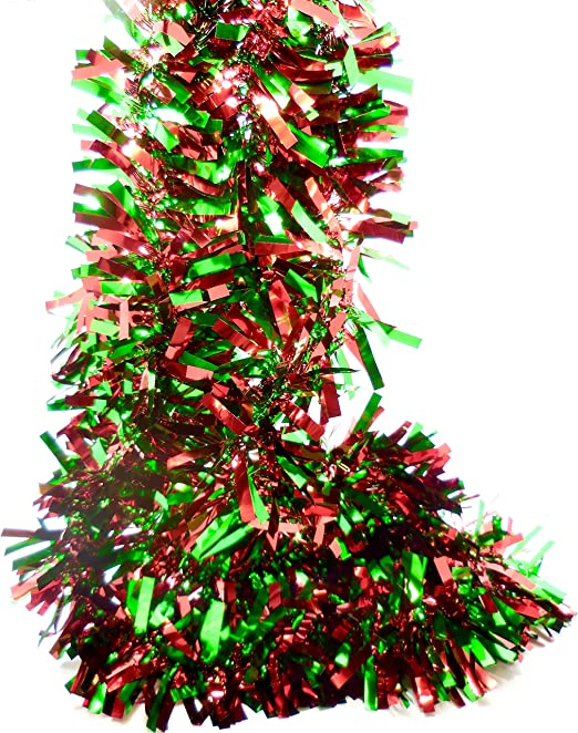 New 20cm Christmas Wreath Ring Tinsel Chunky Foil Shiny Decoration Garlands
