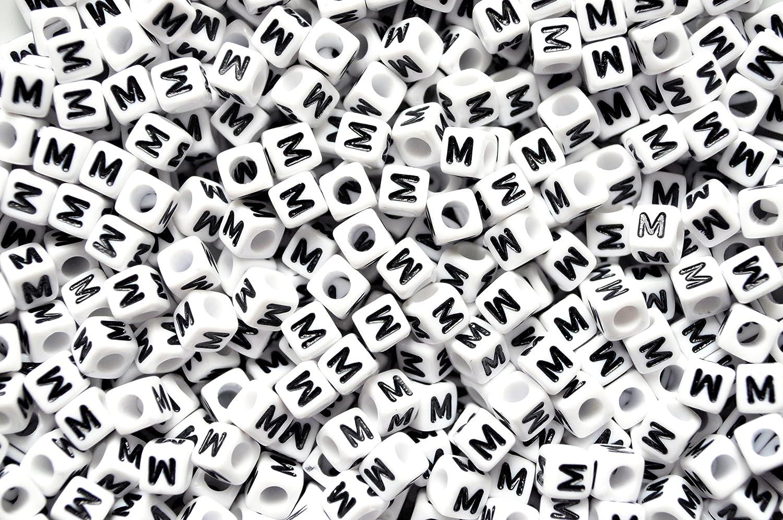 100 per confezione 6mm Alfabeto Perline Assortiti