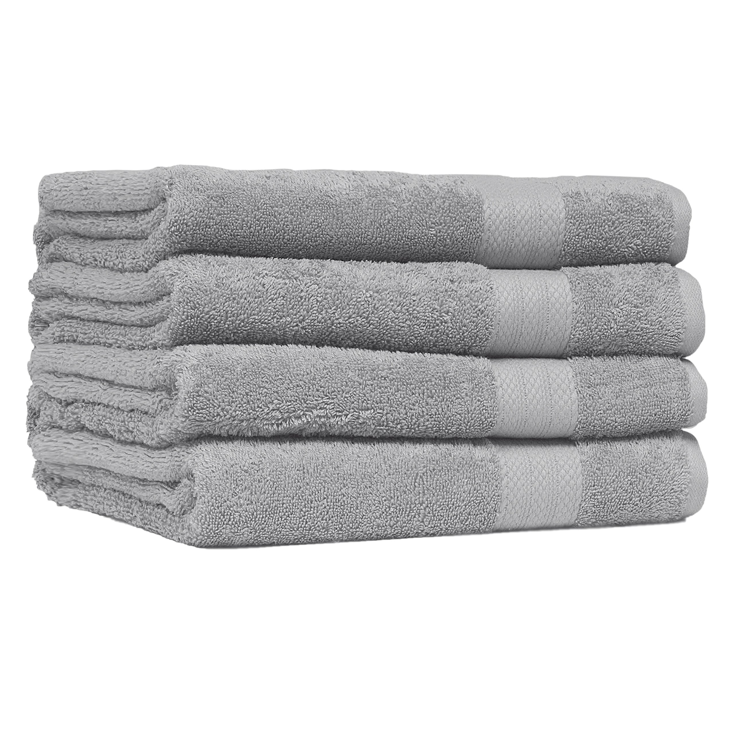 Economic Collection 4 Pack Ultra Soft Oversized Extra Large Bath Sheet 35x66-100% Pure Ringspun Cotton - Luxurious trim - Absorbent Ideal for everyday use - Easy care machine wash (Platinum)