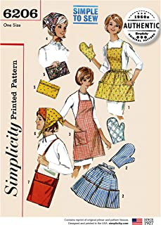product image for Simplicity 6206 Retro 1960's Apron Mitt Scarf Bag & More Sewing Pattern