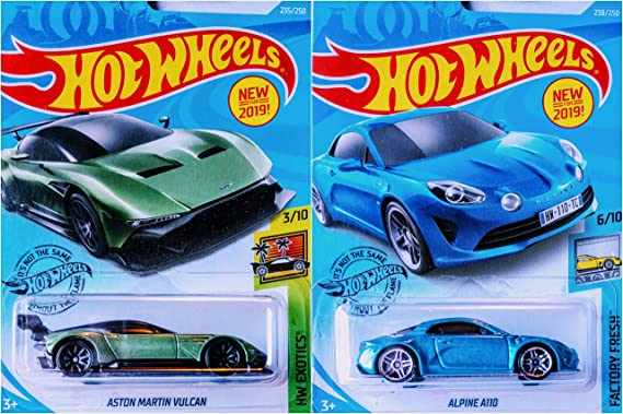 Hot Wheels Aston Martin Vulcan 235/250 and Alpine A110 238/250 2 Car Bundle Set