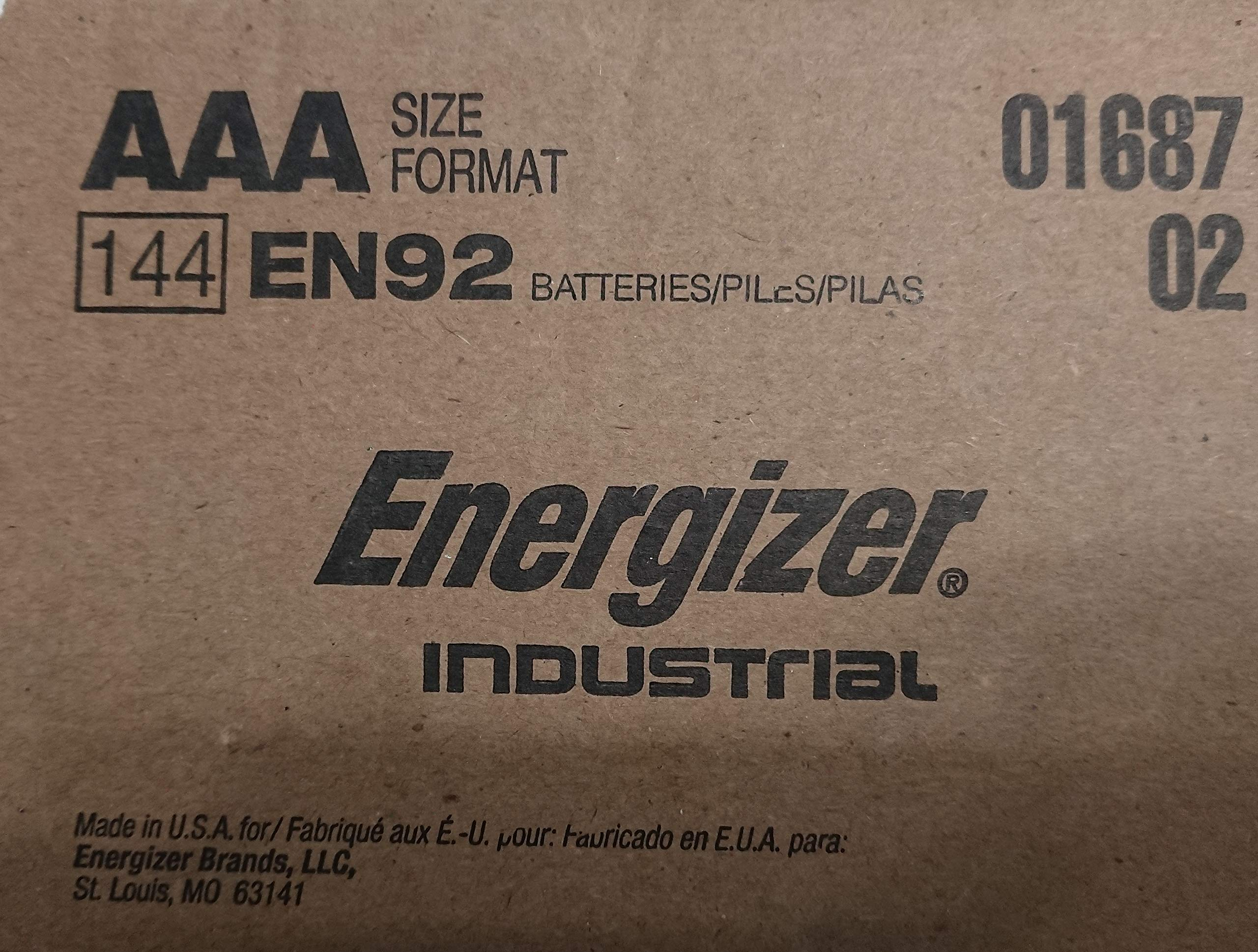 Energizer Industrial EN92 AAA 144 Counts Batteries - Made in The USA by Energizer
