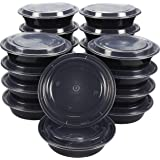 Bento Lunch Box Set – 20 Pack Round Meal Prep Containers for Home, Work, and Travel Use, BPA Free, Freezer and Microwave Safe, Black, 28 Ounces