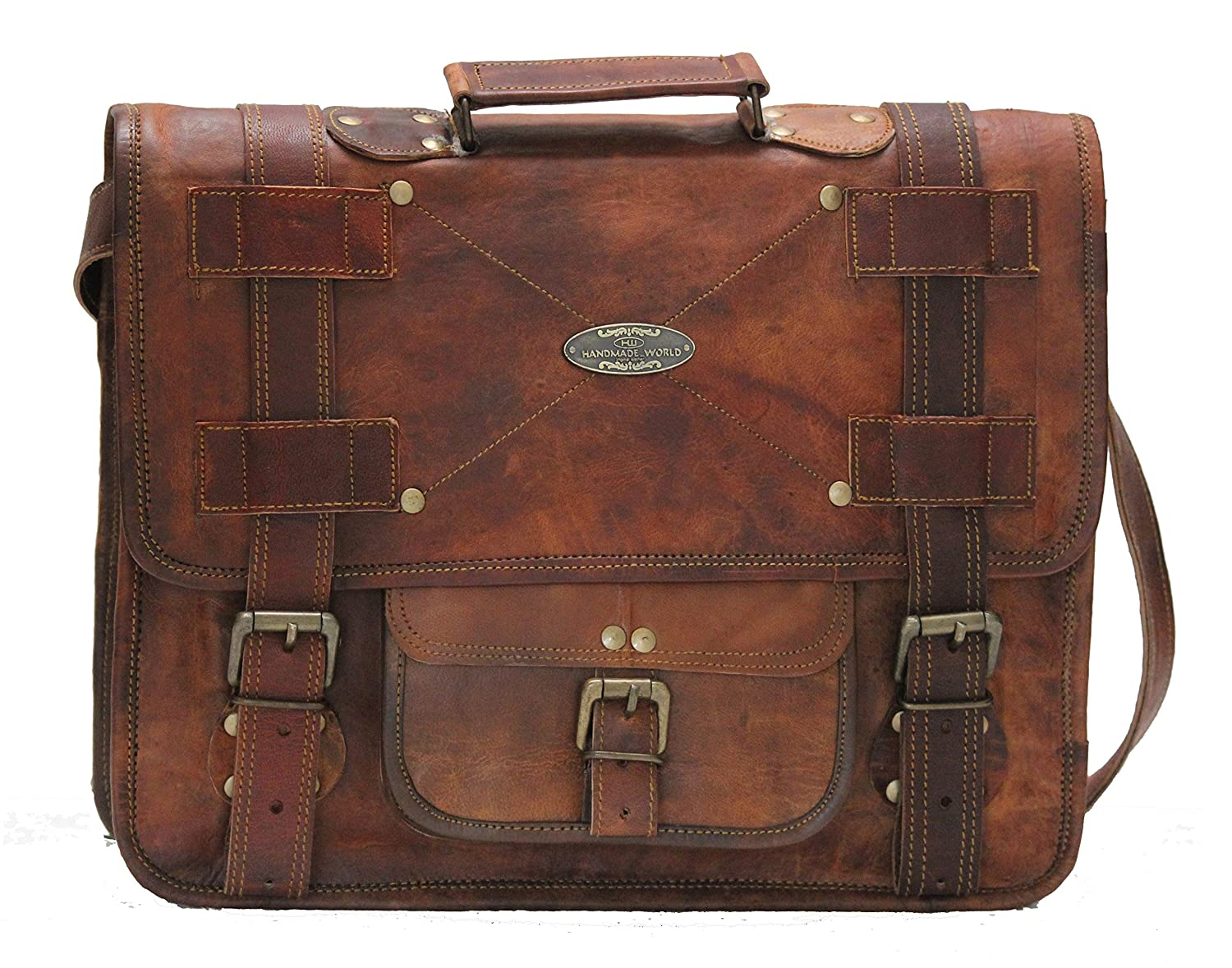 3abf5532aa Amazon.com: Handmade World Leather Messenger Bags for Men Women Mens  Briefcase Laptop Bag Best Computer Shoulder Satchel School Distressed Bag  (11