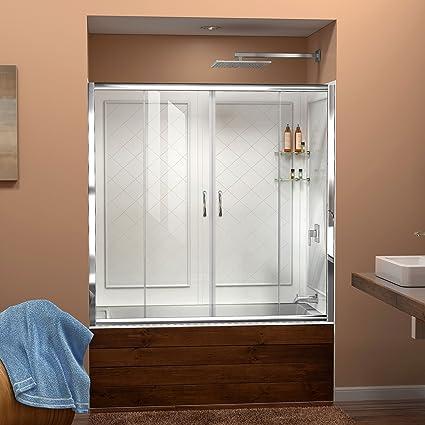 Dreamline Visions 56 60 In W X 60 In H Framed Sliding Tub Door In