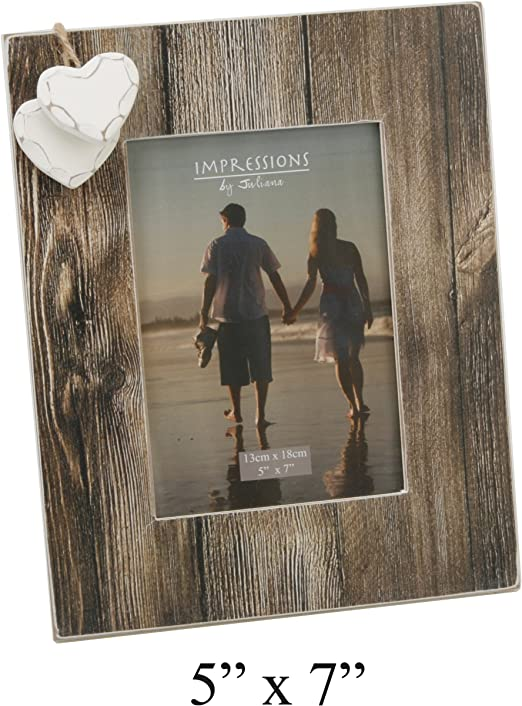 Oaktree Gifts 2 Heart Love Distressed Wood Effect Frame 4 x 6