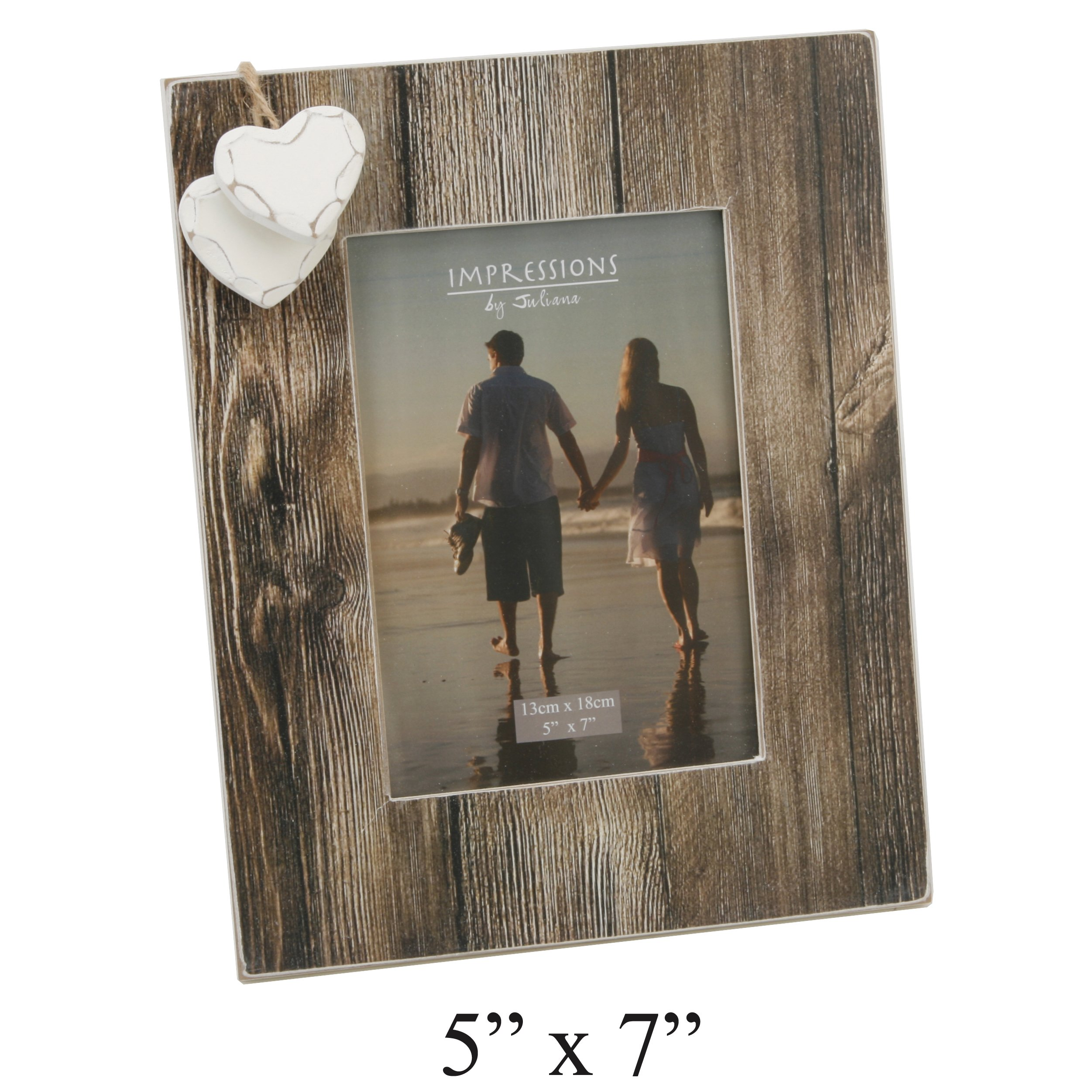 Oaktree Gifts 2 Heart Love Distressed Wood Effect Frame 5 x 7